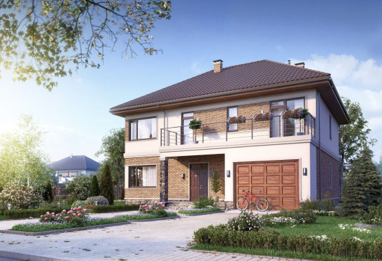 Одноэтажный дом с гаражом (168м²)